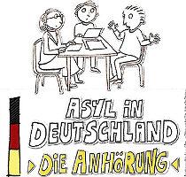 """In einfacher Comic-Bildsprache für alle zugänglich: Der Film """"Die Anhörung"""", initiiert vom Kölner Flüchtlingsrat e.V., Kölner Filmeachern und Produzenten."""